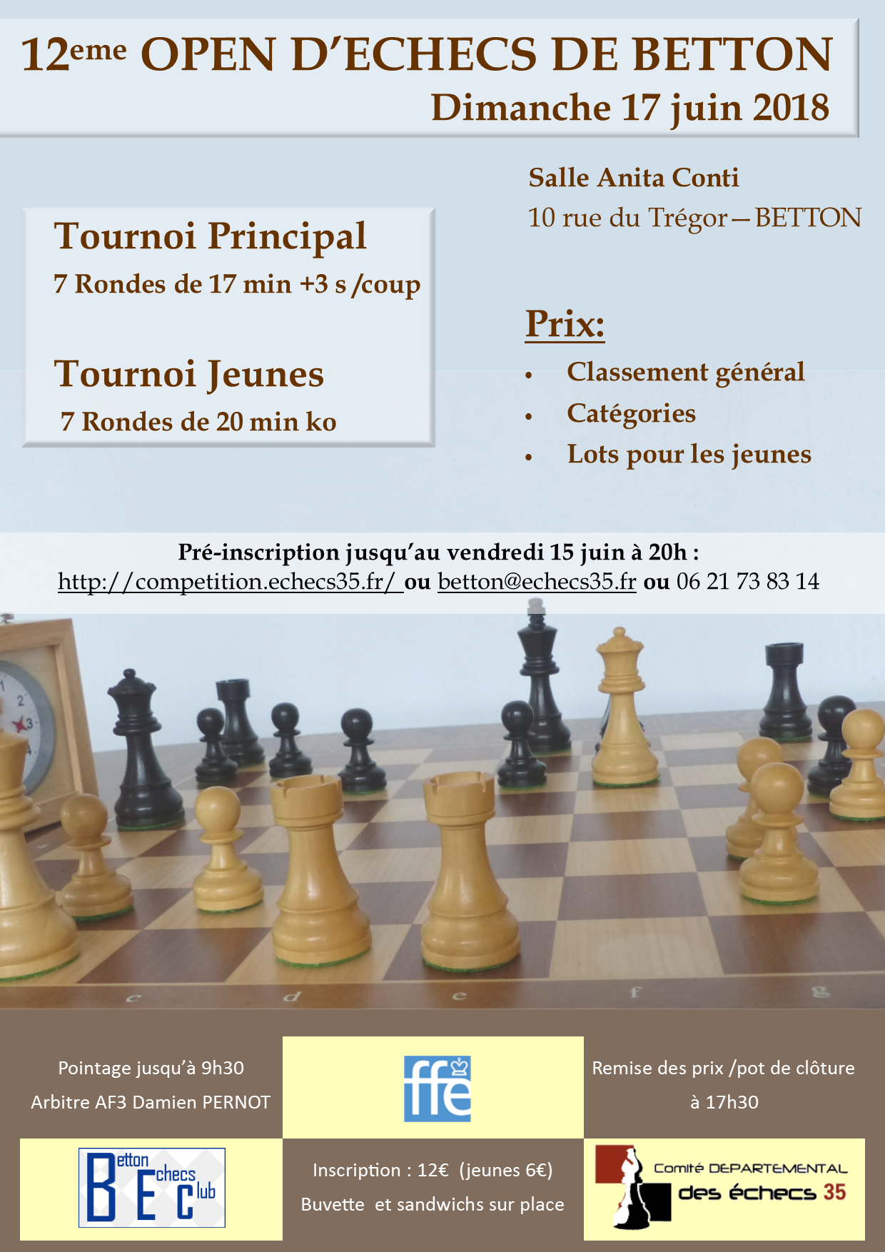 Affiche de l'Open de rapides de betton 2018